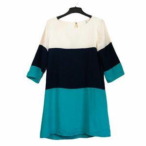 Lulus dress colorblock teal navy and white medium